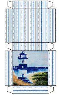 Free printable box template featuring a lighthouse … Printable Box, Templates Printable Free, Free Printables, Paper Box Template, Origami Templates, Box Templates, Paper Tea Cups, Diy Gift Box, Gift Boxes