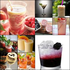 Drinks for Summer: Oatmeal Smoothie, peanutbuttercup protein shake, iced coffee, watermelon fountain, peach, raspberry swirl, super fruit bliss, banana chocolate smoothie, sparkling strawberry mint limeade, watermelon gin and tonic, sangria, bailey's cool raspberry, peach smoothie cocktail, black swan, mudslide, mint martini, reeses martini, espresso chocolate martini