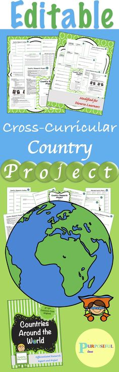 This engaging Editable project has been modified from the original version for differentiated instruction. This No PREP project also involves far less paper than worksheets, and far less grading. Students love the choice option! Students can write a 5 paragraph research report or the graphic organizer can be used in place of the report for differentiated instruction. #CountryProject #CrossCurricular #Editable #CountriesAroundTheWorld #TpT #PurposefulPlans
