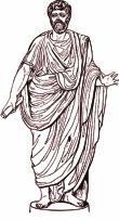 Costume romain: Drapé de la toge : bras droit libre, bras gauche couvert