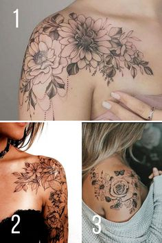 Shoulder Sleeve Tattoos, Back Of Shoulder Tattoo, Shoulder Tattoos For Women, Flower Tattoo Shoulder, Sleeve Tattoos For Women, Shoulder Tattoo Words, Flower Sleeve, Feminine Shoulder Tattoos, Tattoo Over Scar