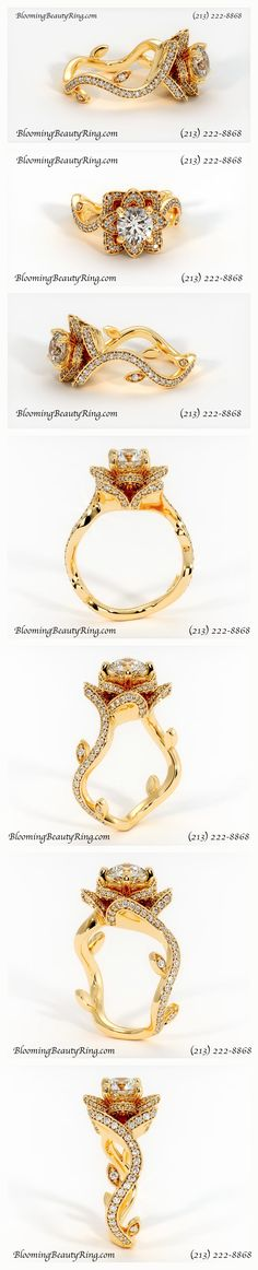 The Perfect Flower Style Diamond #EngagementRing from the original Flower Ring Designers at BloomingBeautyRing.com shown in Yellow Gold and is also available in Rose Gold, White Gold, Platinum and Palladium - Call us at (213) 222-8868 to place an order