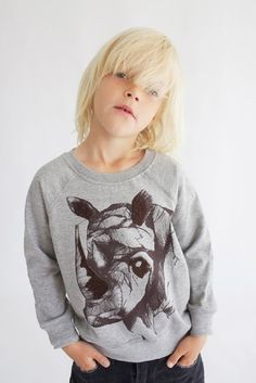 Rhino sweater illustration for Soft Gallery Clothing, Copenhagen - www.dk Photo by Soft Gallery Fashion Kids, Toddler Fashion, Babies Fashion, Toddler Themes, Flattering Outfits, Boys Sweaters, Kids Prints, Kid Styles, Models