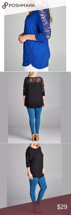 Plus Blue Lace 3/4 Sleeve Tunic Top NEW Featuring a cute feminine 3/4 sleeve tunic with pretty see through floral lace along back/side of sleeves and upper backside. Side elastic ruching along bottom. Super soft comfortable material.   Made of: 95% Rayon & 5% Spandex Tops Tunics