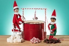 Elves At Play, Mini Palm Tree, Kids Punch, Awesome Elf On The Shelf Ideas, Mini Flags, Buddy The Elf, Yellow Paper, Peppermint Candy, Paper Straws