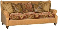 Shop for King Hickory Lucy Leather Fabric Sofa, and other Living Room Sofas at North Carolina Furniture Mart in Bixby, OK. Rustic Living Room Furniture, Living Room Sofa, Fabric Sofa, Cushions On Sofa, Leather Furniture, Leather Sofa, North Carolina Furniture, Fabric Combinations, Leather Fabric