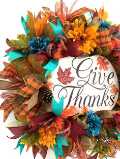 Fall Give Thanks Wreath in orange and turquoise by www.southerncharmwreaths.etsy.com