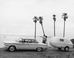 STRANGE OLDE CAMPING TRAILERS AND GEAR - 60'S CHEVY CORVAIR WITH MINI POPUP TRAILER