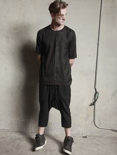 """DRIFTER MK1371EQ Equinox A unique T-shirt features crafted from layered, pieced panels of mixed fabrics features raw edges and an asymmetrical design that includes mismatched sleeves. 30"""" length (size"""