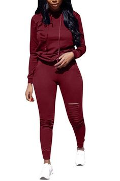 0f58ae6e3ad Distressed Hooded Collar Long Sleeve Casual Top   Pants