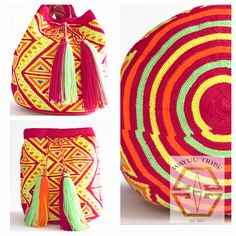 Visit www.Wayuutribe.com to see more Mochilas and boho bags styles. These bags are known as the Susu bag to the Wayuu people. The average bag takes 10-20 days to hand weave. All bags are Handmade. Wayuu people are use bight different colors and patterns to tell the story of the weaver. These are all one-of-kind bags. Wayuu tribe bags are $260.00. They are woven with cotton thread. A nice beach bag or farmer bag that is very sturdy. #boho #HANDMADE