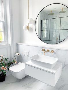 A minimal, statement design that's revitalising and inspiring. This monochrome bathroom blends marbl Minimal Bathroom, Modern Bathroom, Small Bathroom, Fitted Bathroom, Black Marble Bathroom, Marble Bathroom Accessories, Shower Fittings, Marble Showers, Bathroom Interior Design