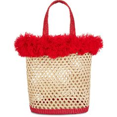 Nannacay Red Woven Straw Nica Pipa Tote (11,290 DOP) ❤ liked on Polyvore featuring bags, handbags, tote bags, red purse, fringe tote, straw handbags, tote purses and travel tote bags