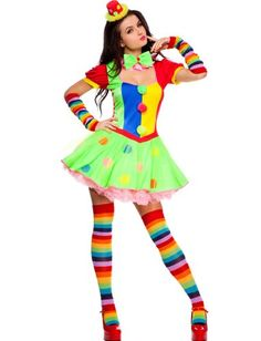 Join the big top circus in this sexy women's fancy dress clown costume by Music Legs. These colourful adult's clown costumes include everything you need to look the part at your next funny clown or circus fancy dress costume party. Sexy Clown Costume, Circus Halloween Costumes, Clown Dress, Costume Hire, Circus Costume, Halloween Fancy Dress, Adult Costumes, Costumes For Women, Clown Costumes