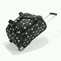 $180  Weekender on wheels from Thirty One Gifts.  To order, go onto www.mythirtyone.com/514342, to buy it and have it sent directly to you.