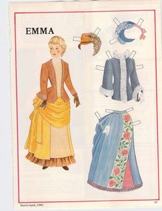 Paper Doll, Uncut with Clothes, Emma, 1985, National Doll World, by ABarnFullofToys on Etsy