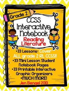 Cover every Grade 2 Reading Literature CCSS with this interactive notebook! This notebook allows students to demonstrate their understanding of reading literature in a way that shows the interaction between their thinking and the text. There are 33 lessons with descriptive teacher instruction, mini lesson student pages, and graphic organizers for student work.