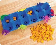 """hier kan je ook een spel van maken: Laat ze dobbelen (in dozen van 6) en er genoeg visjes in leggen. Bvb gooien ze 3, moeten ze 3 visjes bij het vakje van """"3"""" leggen. Gooien ze daarna nog eens 3 moeten ze een beurt overslaan"""