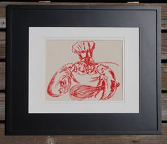 ***We offer significant shipping discounts on multiple items***  This unframed wall decor art print features a silk screen image of a red chef lobster. The fabric is a premium quality 100% cotton canvas. Its neutral cream color will compliment most home decor colors and shows off our range of eco friendly water based ink colors beautifully. We hand draw all of the images for our silk screen designs, and hand pull each screen print in our home studio. You can select the ink color you want…