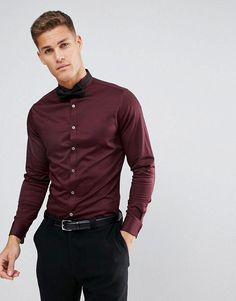 4178294018047 ASOS Slim Sateen Shirt In Burgundy With Wing Collar And Double Cuff -  #mensjeansstyle Maroon