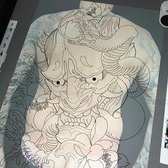 Go big or go home # asian_inkandart Japanese Tattoo Art, Japanese Tattoo Designs, Japanese Sleeve Tattoos, Hanya Tattoo, Irezumi Tattoos, Hannya Mask Tattoo, Tattoo Drawings, Body Art Tattoos, Tattoo Ink