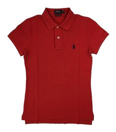 2725165e Ralph Lauren Polo Womens Knit Skinny Fit Polo Shirt Pony Logo at Amazon  Women's Clothing store: