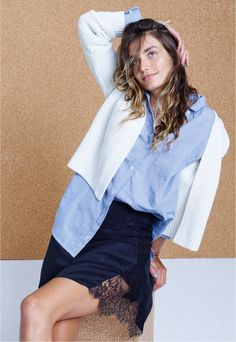 Madewell Crop Cardigan Sweater, Oversized Boyshirt and Silk Lowlight Lace-Inset Skirt