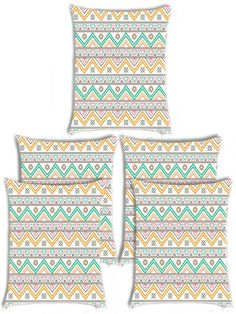 Giftwallas Zig Wave Cotton Cushion Cover Multi Colour Set Of 5