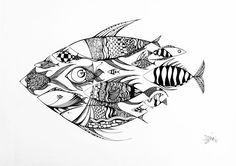 Outsider Fish / Original Ink on Cardboard by Xenia Hahonina / 42 x 29.6 cm…