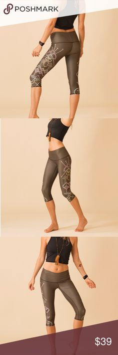 Teeki Capri Pants Teeki Capri pants in Seven Crowns pattern. Made from recycled material, soft and made for hot yoga! NEW with tags, prices are FIRM!  Teeki Pants Capris