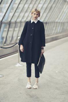 white collar & black coat