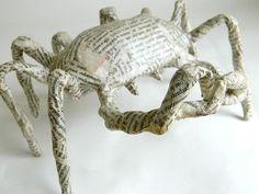 crab sculpture - newsprint paper mache
