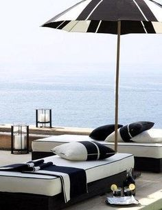 Black Sands Collection Nautical Black and White Modern Beach Style ~ Ralph Lauren Home Outdoor Areas, Outdoor Rooms, Outdoor Living, Outdoor Decor, Outdoor Lounge, Interior Exterior, Exterior Design, Black And White Interior, Black White