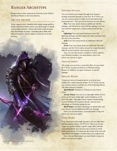 DnD Homebrew — Arcane Archer Ranger by Braggadouchio Dungeons And Dragons Classes, Dungeons And Dragons Characters, Dungeons And Dragons Homebrew, Dnd Characters, Fantasy Characters, Dungeons And Dragons Ranger, Dnd Dragons, Ranger Dnd, Dnd Classes