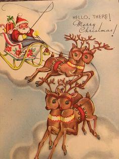 Vintage Christmas Cards, Christmas Greeting Cards, Christmas Greetings, Christmas Tree, Santa On His Sleigh, Estate Auctions, Christmas Sketch, Christmas Wonderland, Pretty Cards
