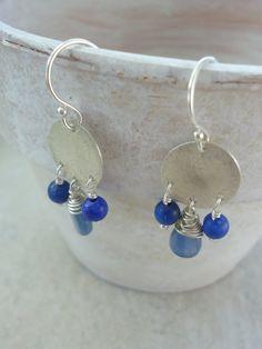 Sugar Drop Earrings  ~ silver, lapis, kyanite Found on EmilyClaireStudio.com