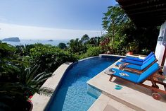 Casa Dolce Vita, This Manuel Antonio house Rental has Views of Manuel Antonio National Park, Luxurious furnishings in a beautiful tropical style, every room features grand ocean views. Private pool with gorgeous view. Jacuzzi, Costa Rica Villas, Costa Rica Real Estate, Spa, Tropical Pool, Private Pool, Luxury Villa, Vacation Destinations, Swimming Pools