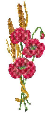 Cross stitch poppy machine embroidery design