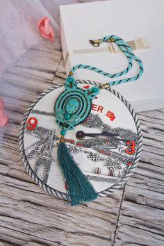 soutache necklace, soutache, soutache jewelry, tassel necklace, turquoise necklace, boho necklace, boho tassel necklace