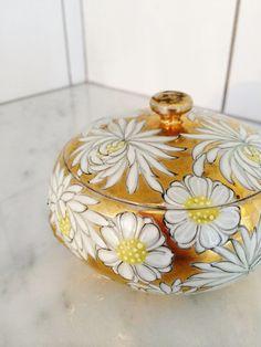 Gilt Trinket Box  Lidded Gold Box  Gold Flowered Box  by Comforte