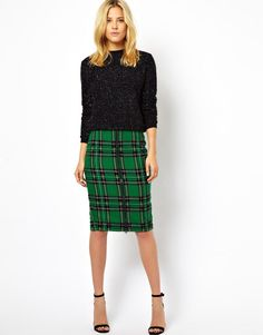 ASOS | ASOS Check Pencil Skirt with Bead Embellishment at ASOS