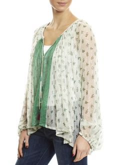 Ivory And Green Combo 'Baez' Blouse Odd Molly, Easy Day, Ladies Tops, Dress Shirts For Women, Eileen Fisher, Shirt Blouses, Women's Tops, Fashion Ideas, Kimono Top