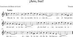 ¡Arre, Bué!. Tonada del Cancionero del Reino de León. Sheet Music, Songs, Folklore, World, Music Instruments, Song Books, Music Sheets