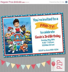 ON SALE Paw Patrol Birthday Invitations By PartyZonePrintables 600 Party Boy