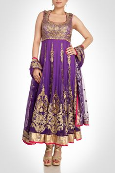 Purple anarkali with metallic applique and sequence detailing. Shop Now: www.kimaya.in