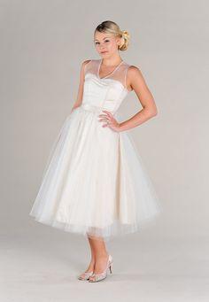 SAMPLE SALE:  Short Wedding Dress, Vintage Inspired Tulle Circle Skirt Sweetheart Lace Illusion Neckline //Custom Made //Plus Size via Etsy