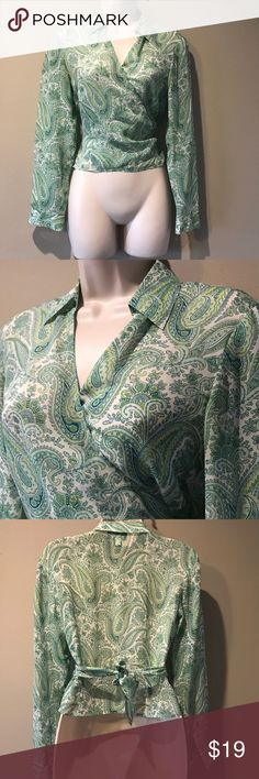 ANN Taylor 100% Silk crop wrap top, 6P WAS $24-NOW $15!  In excellent preowned condition Ann Taylor Paisley patterned 100% silk crop top, size 6 petite. Ann Taylor Tops Crop Tops