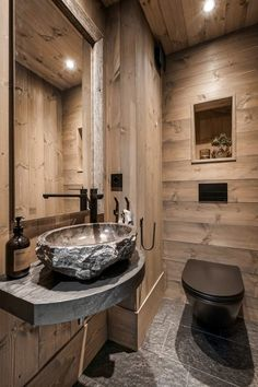 visit our website for the latest home decor trends . Cabin Bathrooms, Ikea, Grey Countertops, Wooden Cabins, Glass Cabinet Doors, Cabin Interiors, Minimalist Bathroom, Bathroom Colors, Wall Treatments