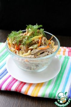 Рецепт: Салат мясной с огурцами