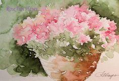 Watercolor Paintings by RoseAnn Hayes: Pink Flowers in Terra Cotta Pot